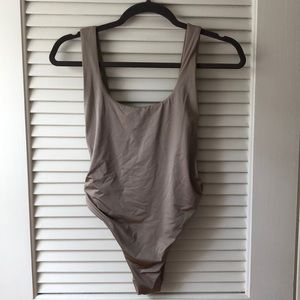 Aerie side-detail beige swim suit